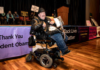 T. Scussel - Peter Mendoza speaks on Rights for People with Disabilities at Marin is Marching  - San Rafael B Street Community Center
