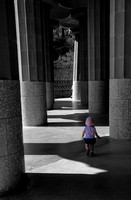 Baby Walking at Park Guell (B&W)